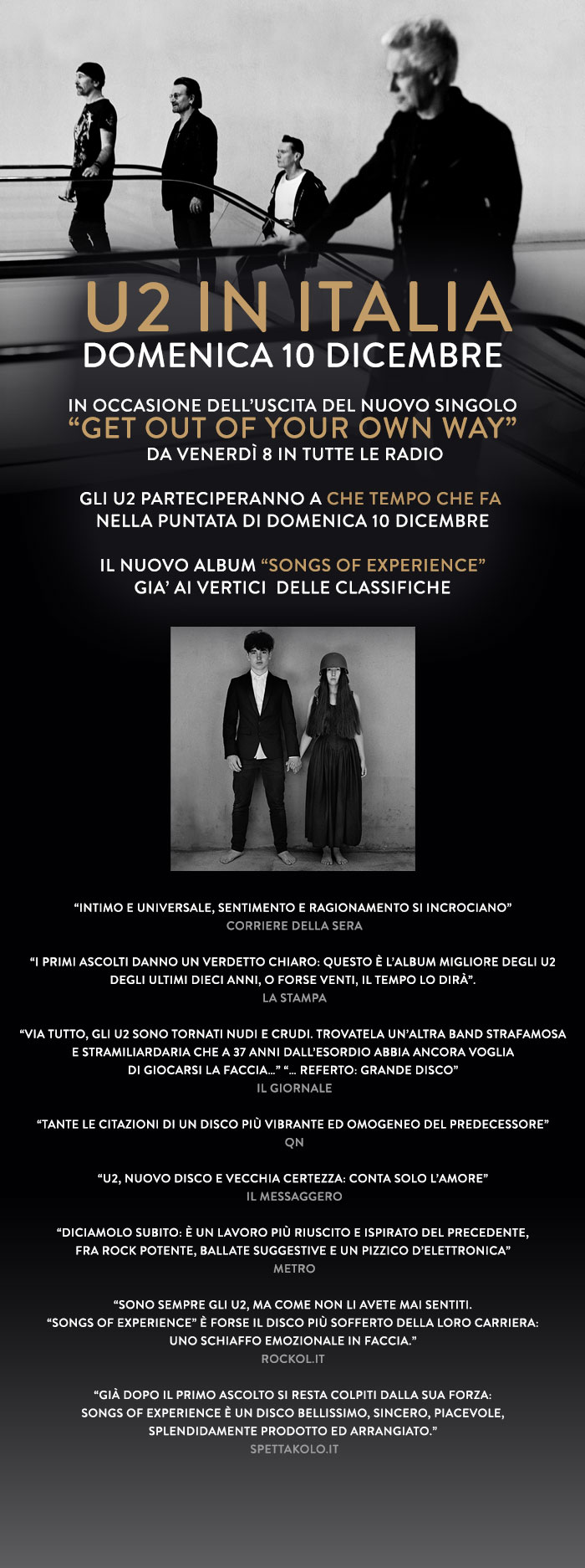 Gli U2 in italia domenica 10 e poi rumors su un concerto a Bologna nel 2018!